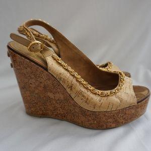 Chanel CC Embellished Chain Wedges Cork Heel